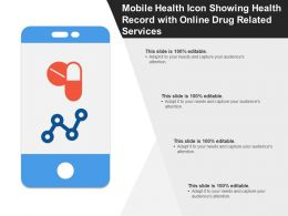Mobile Health Icon Showing Health Record With Online Drug Related Services