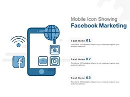 Mobile Icon Showing Facebook Marketing