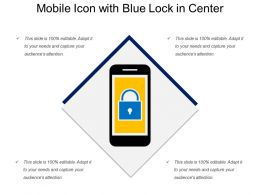 Mobile Icon With Blue Lock In Center