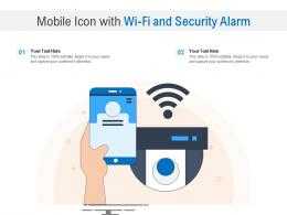 Mobile Icon With WIFI And Security Alarm