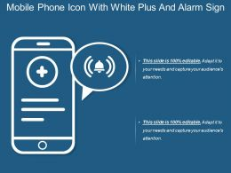 Mobile Phone Icon With White Plus And Alarm Sign