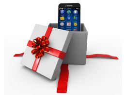 Mobile Phone Inside A Gift Box Stock Photo