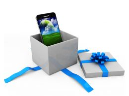 Mobile Phone Inside The Gift Box Displaying Gifting Concept Stock Photo