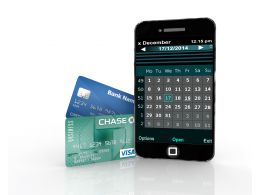 Mobile Phone With Two Credit Cards Business Stock Photo