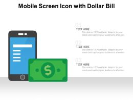 Mobile Screen Icon With Dollar Bill
