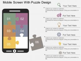 Mobile Screen With Puzzle Design Flat Powerpoint Desgin