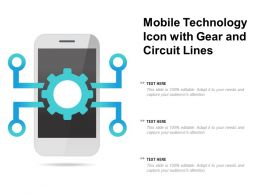Mobile Technology Icon With Gear And Circuit Lines