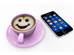 Mobile With Apps And Coffee Mug And Smiley Technology Stock Photo