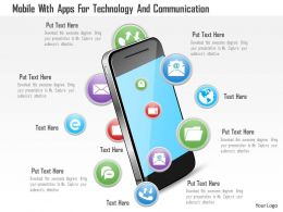 Mobile With Apps For Technology And Communication Ppt Slides