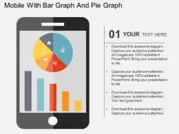 Mobile With Bar Graph And Pie Graph Flat Powerpoint Design