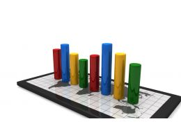 Mobile With Colorful Bar Graph Stock Photo