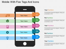 Mobile With Five Tags And Icons Flat Powerpoint Design