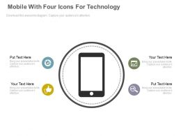 Mobile With Four Icons For Technology Application Powerpoint Slides