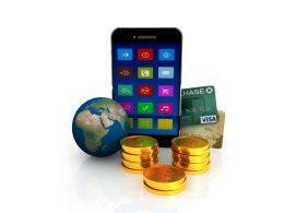 Mobile With Gold Coins And Globe For Business And technology Stock Photo