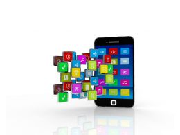 Mobile With Multiple Android Applications Stock Photo