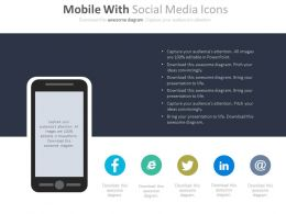Mobile With Social Media Icons Powerpoint Slides