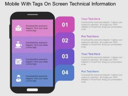 Mobile With Tags On Screen Technical Information Flat Powerpoint Design