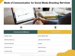 Mode Of Communication For Social Media Branding Services Ppt Professional