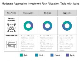 Moderate Aggressive Investment Risk Allocation Table With Icons