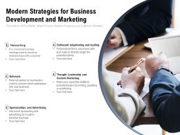 Modern Strategies For Business Development And Marketing