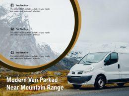 Modern Van Parked Near Mountain Range