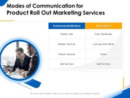Modes Of Communication For Product Roll Out Marketing Services Ppt File Demonstration
