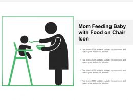 Mom Feeding Baby With Food On Chair Icon