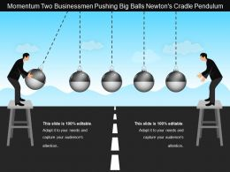 Momentum Two Businessmen Pushing Big Balls Newtons Cradle Pendulum