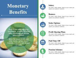 Monetary Benefits Salary Bonuses Stoke Options Profit Sharing Plans