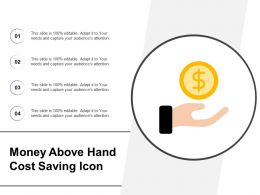 Money Above Hand Cost Saving Icon