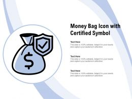 Money Bag Icon With Certified Symbol