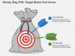 Money Bag With Target Board And Arrow Flat Powerpoint Design
