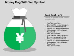 Money Bag With Yen Symbol Flat Powerpoint Design