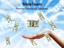 Money Falling To Hands Over Blue Sky Background Powerpoint Templates Ppt Themes And Graphics