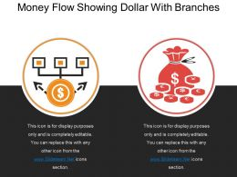 Money Flow Showing Dollar With Branches