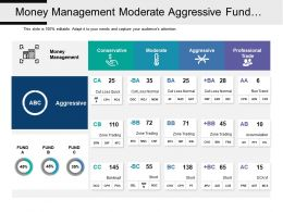 Money Management Moderate Aggressive Fund Market Analytics Table With Icons