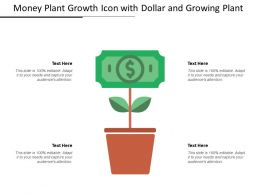 Money Plant Growth Icon With Dollar And Growing Plant