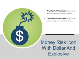Money Risk Icon With Dollar And Explosive