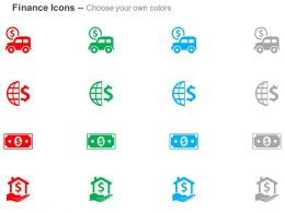 Money Van Global Finances Dollar Banking Solutions Ppt Icons Graphics