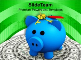 Money With A Piggy And Keys PowerPoint Templates PPT Themes And Graphics 0213