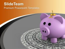 Money With Locked Piggy Bank PowerPoint Templates PPT Themes And Graphics 0213