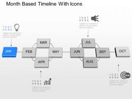 Month Based Timeline With Icons Powerpoint Template Slide