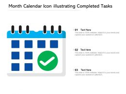 Month Calendar Icon Illustrating Completed Tasks