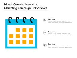 Month Calendar Icon With Marketing Campaign Deliverables