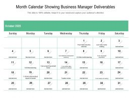 Month Calendar Showing Business Manager Deliverables