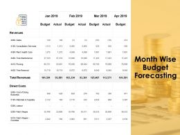 Month Wise Budget Forecasting Currency Ppt Powerpoint Presentation Ideas Diagrams