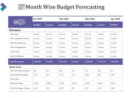 Month Wise Budget Forecasting Powerpoint Slide Deck Template