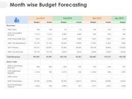 Month Wise Budget Forecasting Ppt Powerpoint Presentation Themes