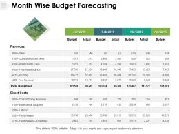 Month Wise Budget Forecasting Revenues Direct Cost Ppt Powerpoint Presentation Model Show