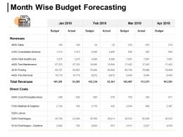 Month Wise Budget Forecasting Revenues Sales Ppt Powerpoint Presentation Icon Tips